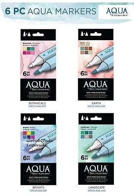 NEW Spectrum Noir AQUA - Artist WATERCOLOUR MARKER 6 PEN SETS All Sets Available