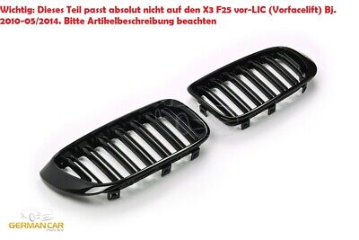 Grille  For Bmw X3 X4 F25/F26 Sport Kidney Double Slat M Look Gloss Black