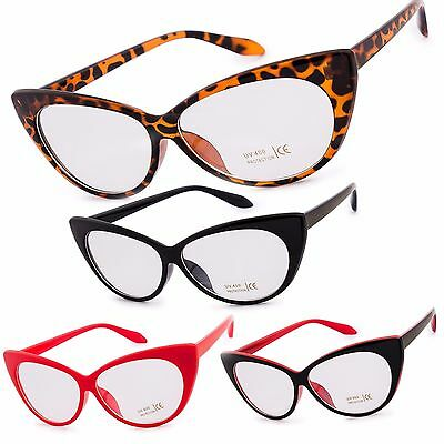 "Women Glasses Clear Lens Cat Eye Unisex Classic Fashion Style 80"" Fun"
