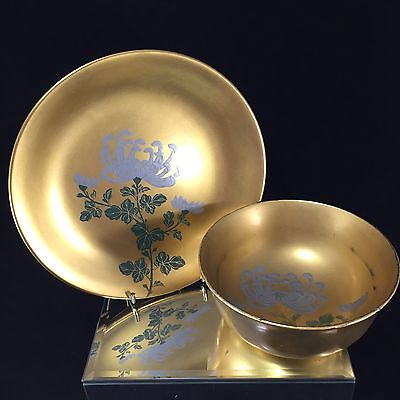 Lot#2 Vintage Japanese Gold Lacquer Set Chrysanthemum Flowers Plate & Bowl