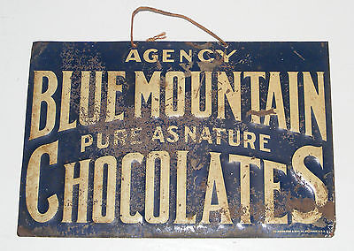 CHOCOLATES Candy TIN SIGN RUSTY PITINA EARLY 1900'S AUTHENTIC ANTIQUE VTG