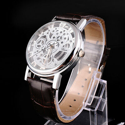 Luxury Skeleton Mens Leather Band Stainless Steel Dial Wrist Watch Wristwatch