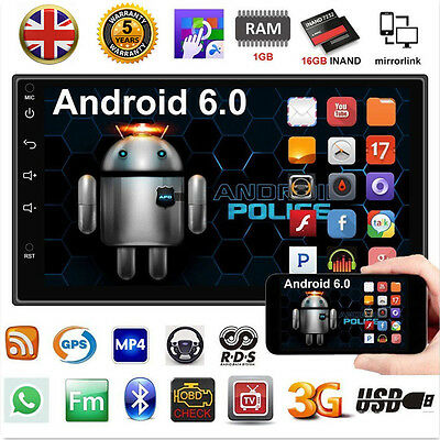 "Android 6.0 Quad Core 3G WIFI 7"" Double 2DIN Car Radio Stereo MP5 Player GPS UK"