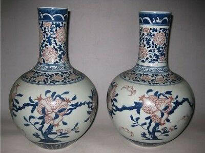 A pair of exquisite Chinese hand-painted blue and white porcelain pomegranate va