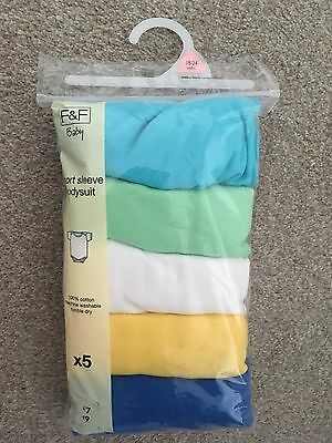 Brand New X5 Pack Coloured Short Sleeve Bodysuits Vests 18-24 Months F&F