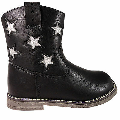 Girls Black Infant Cowboy Chatterbox Ankle Boots Zip Up Glitter Star detail