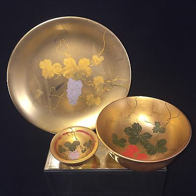 Lot#10 Vintage Japanese Gold Lacquer Set Grapes Plate Bowl & Side Dish