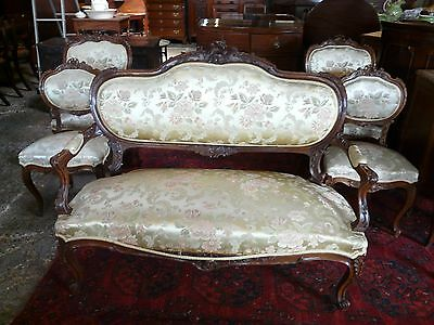 Antique Victorian Salon Suite....Settee....2 Armchairs and 2 single chairs