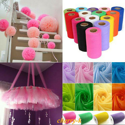 6 Inch x 25 Yards Tulle Roll Tutu Skirt Fabric Wedding Party Chair Bows Decor UK