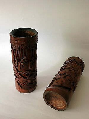 Chinese 19th Century bamboo cylindrical vases decorated figures
