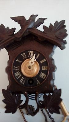 Antique Cuckoo Clock very small carved wood
