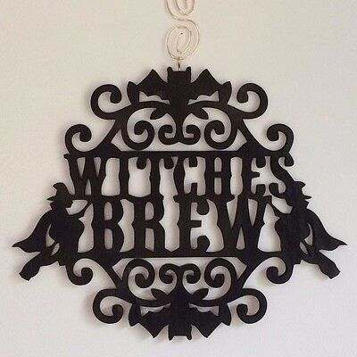 """""""Witches Brew"""" Black HALLOWEEN Home Decor Wood Sign w/ Bats & Witches on Brooms"""
