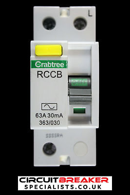 CRABTREE 63 AMP 30mA DOUBLE POLE RCCB RCD STARBREAKER 363/030