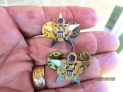 "VINTAGE US MILITARY 1"" STERLING SILVER STARS by Simon GT-SET OF 2"