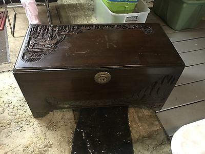 Antique JL George Prop Carved Camphor Chest