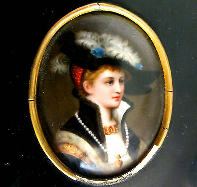 SUPERB 19th. C FRAMED FINE PORCELAIN HAND PAINTED MINIATURE of a BEAUTIFUL WOMAN
