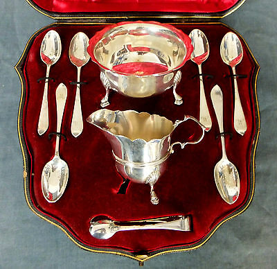 Lovely Sterling Silver Tea Service / Strawberry Set - Goldsmiths & Silversmiths