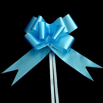 "20 x 50mm (2"") Rapid Satin Pull Bows - LIGHT PALE BABY BLUE for Gift"
