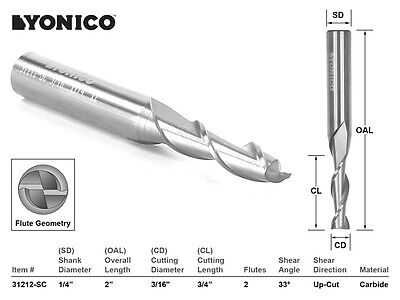 "CNC Router Bit Up Cut Solid Carbide 3/16"" X 3/4"" X 1/4"" X 2"" - YONICO 31212-SC"