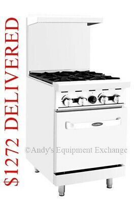 "New 24"" inch 2 foot wide Commercial Restaurant 4 burners Gas Range with Oven NSF"