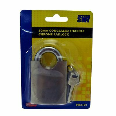 50mm Durable Concealed Shackle Chrome Padlock Garden Shed Security