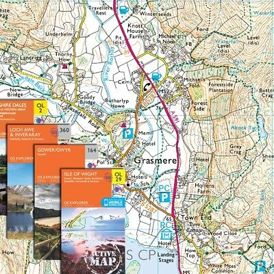 1:25,000 OS Ordnance Survey Explorer UK Maps - Digital, work with Memory Map