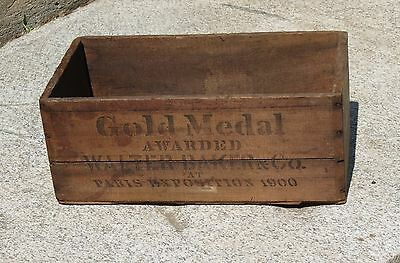 Vintage W.Baker Chocolate Advertising Wooden Box from Dorchester, Mass.