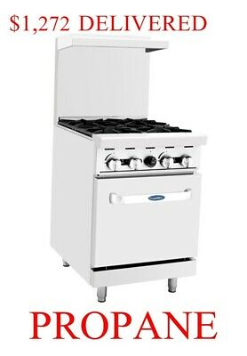 "Propane Gas LP Range + Oven 24"" inch 2 foot wide Commercial Restaurant 4 burners"