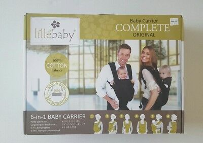 LILLE BABY Complete Original with Pocket 6-in-1 Baby Carrier Black Ergonomic