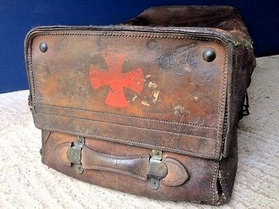 Antique Army Navy Leather Travel Trunk Suitcase Chest, Log Basket,  Militaria