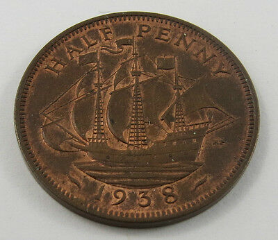 Pt-34 Great Britain 1938 Half Penny Coin. See Pictures