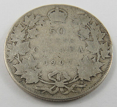 Ph-5 Canada 1907 50 Cents Sterling Silver King Edward Vii Coin. See Pictures