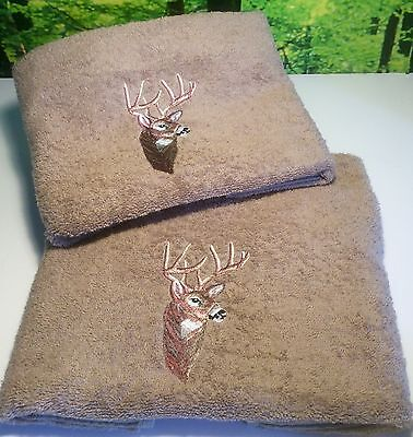 Embroidered Hand & Bath Towels, Wild Scottish Deer, Facecloths, Hand Towels