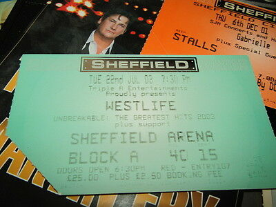 Ticket stub   Westlife,  The Greatest Hits tour 02
