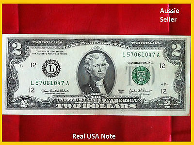 Usa $2 Two Dollar America Banknote Unc Very Rare Uncirculated