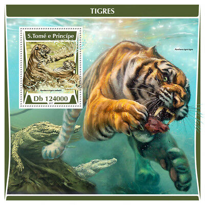 Sao Tome & Principe 2017 MNH Tigers 1v S/S Tiger Mammals Wild Animals Stamps