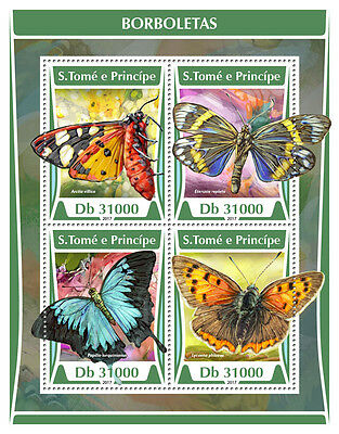 Sao Tome & Principe 2017 MNH Butterflies 4v M/S Butterfly Insects Stamps