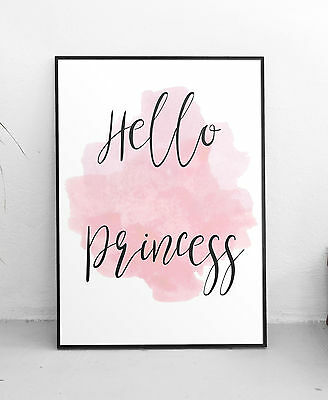 Hello Princess Quote Wall Art Print Pink Watercolour Typography Decor A3 Poster