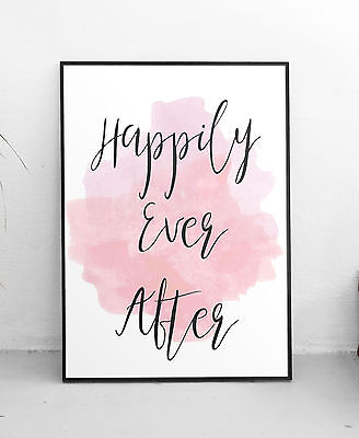 Happily Ever After Quote Wall Art Print Pink Watercolour Typography Decor Poster