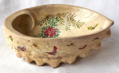 C19Th Japanese Satsuma Shell Shaped Dish With Hand Painted Flowers & Butterflies