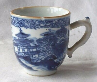 C18Th Chinese Blue And White Cup Decorated With A Temple And Bridge Pattern  A/f