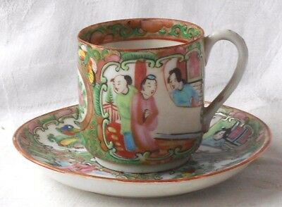 C19Th Chinese Canton Cup And Saucer Decorated With People Butterflies And Birds