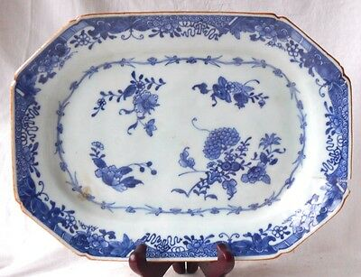 C18Th Chinese Blue And White Octagonal Serving Dish A/f