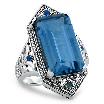 6 Ct Sim Aquamarine Antique Victorian Design 925 Silver Ring Size 6.75,     #283