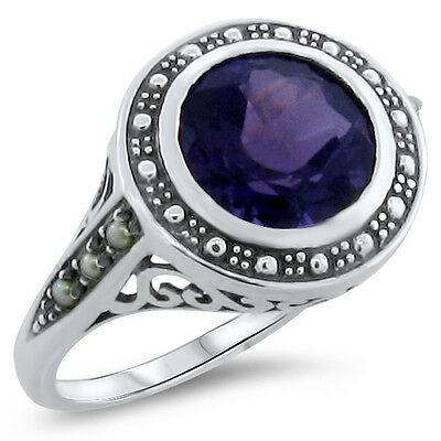 3.5 Ct Lab Amethyst Antique Victorian Style 925 Silver Ring Size 9.75,      #284