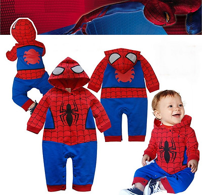 Spiderman Baby Romper Childrens Babygrow Marvel Fancy Dress Kids Haloween Boys