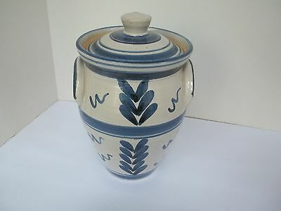 """Decorative Blue over White """" Thomas """" Stoneware Crock with Lid. Hand Painted"""