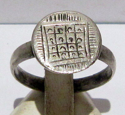 Beautiful Post-Medieval Silver Ring With Engraving On The Top # 627