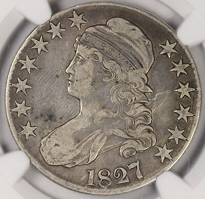 1827 50C Square Base 2 Capped Bust Half Dollar NGC VF20