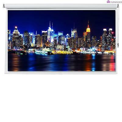 "113"" White Projector Screen 16:9 HD/3D High Quality - Roller Blind 236cm x 165cm"